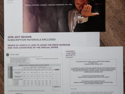 Handel & Haydn Society Subscription Mailing